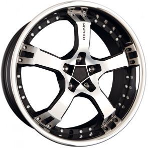 Keskin KT10 Humerus matt black front polish steel lip 9.5x18 ET25 - LK5/100