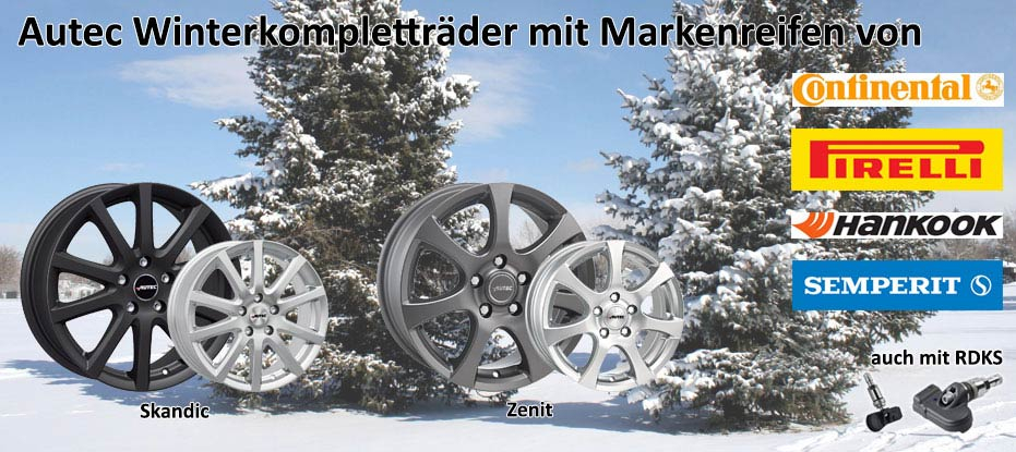 Winterkomplettradsatz Autec mit Marken Reifen und RDKS